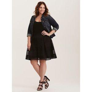 Torrid 2X Flared Skirt Black Stripe Sheer